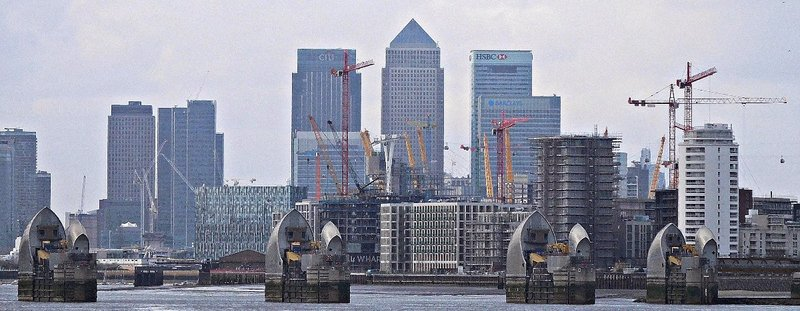 Woolwich Free Ferry: view of Canary Wharf and Thames Barrier