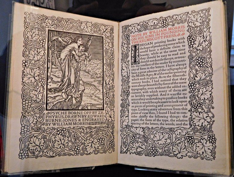 William Morris Gallery: some printing produced by the Kelmscott Press founded by Morris