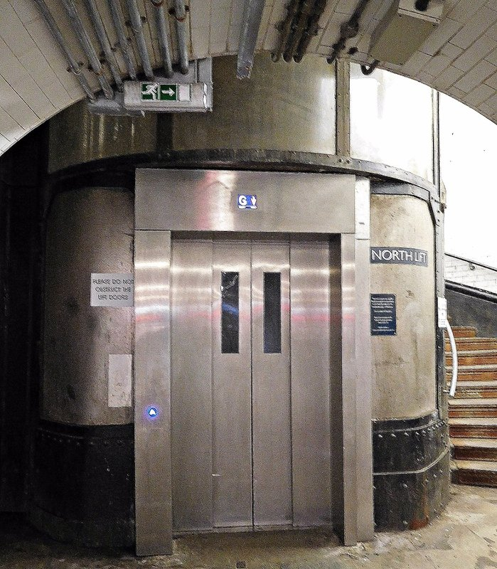 Woolwich Foot Tunnel:   Lift entrance below ground