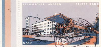 Landtag on postage stamp, 2001 - Dresden