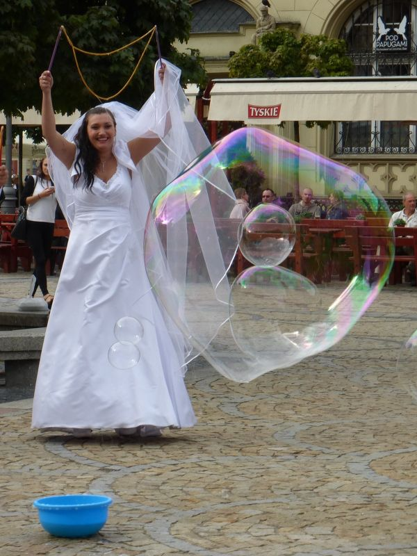 Soap Bubble Making in Rynek - Wroclaw