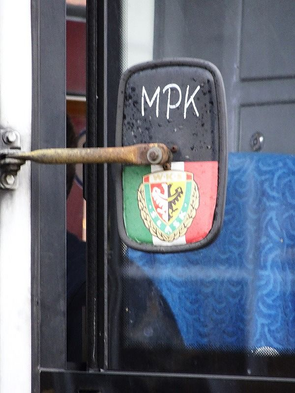 Sticker on a tram's mirror - Wroclaw