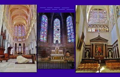 Three interior photos of Cathedral St. Gatien