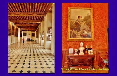 Château Brissac Upper Gallery and portrait of Veuve Clicquot