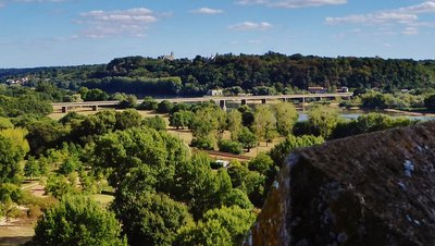 View of a distant Champtoceaux and Moulin Pendu from the Keep