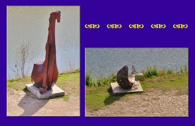 Whimsical sculptures along the river walk in Oudon