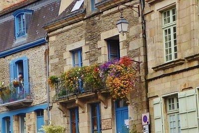 Flowers on a balcony in Josselin