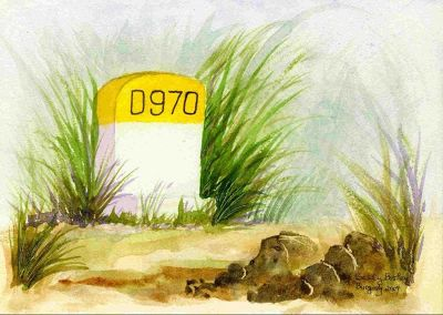 My watercolor of a typical roadside route marker - Beaune