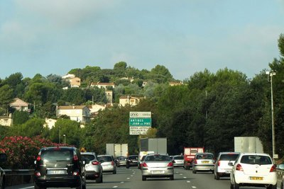 The A8 near Nice with traffic