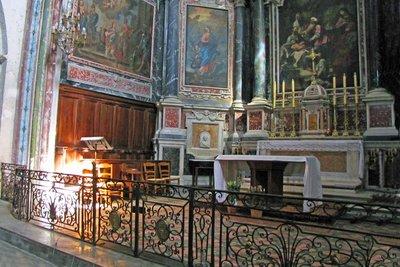 Ironwork inside Notre Dame de Beaulieu in Cucuron
