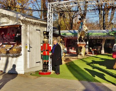 Meeting a very tall toy soldier