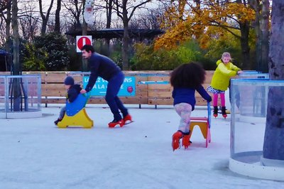 Ice skating with sleds