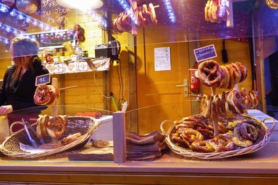 Pretzels at the Christmas Market by the Gare de Strasbourg