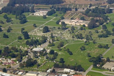 Flying over Holy Cross Catholic Cemetery