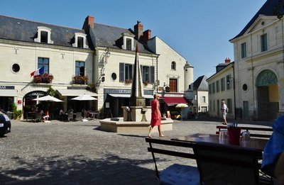 View from Le Comptoir des Vins Restaurant in Fontevraud