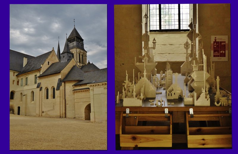 Fontevraud L'Abbaye Royale - two photos including the Legos exhibit