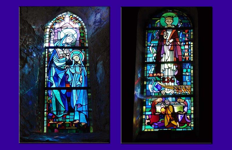 Stained glass in Abbatiale Déas at Saint-Philbert-de-Grand-Lieu