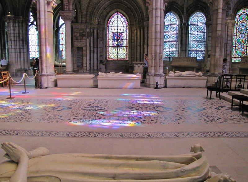 Reflections on the floor of Basilique Cathédrale de Saint-Denis