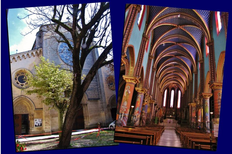 Exterior and main aisle of the Basilique Saint-Michel-de-Frigolet