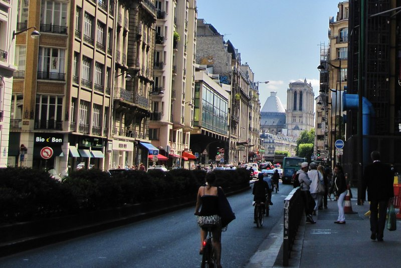 Looking down rue Beaubourg to Notre Dame and the well-covered Pantheon in the distance
