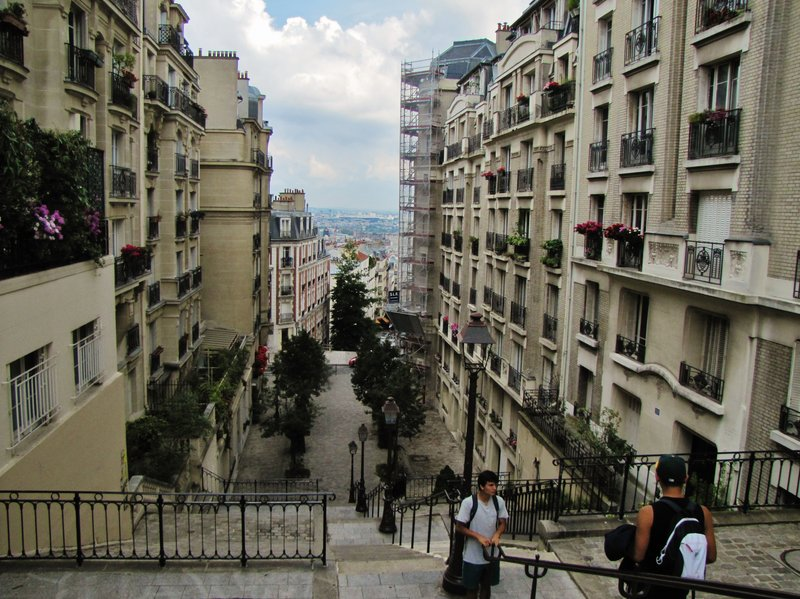 View from near the top of the stairs on rue du Mont Cenis in Montmartre