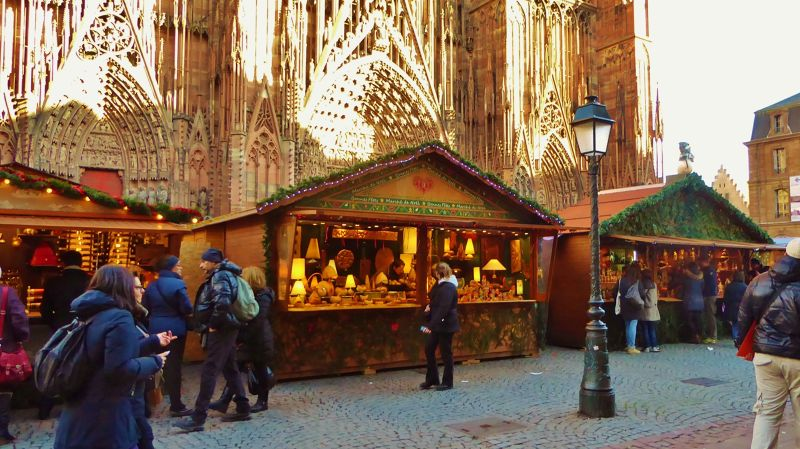 Market in front of the Cathedral - Strasbourg