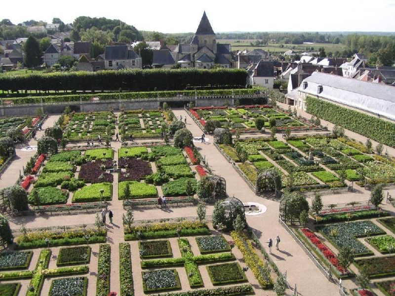 Village of Villandry across the gardens of Château de Villandry