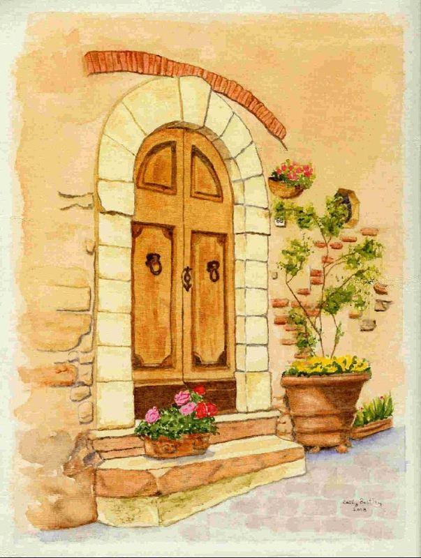 My watercolor of a door in Barberino Val d'Elsa - Barberino di Val d'Elsa