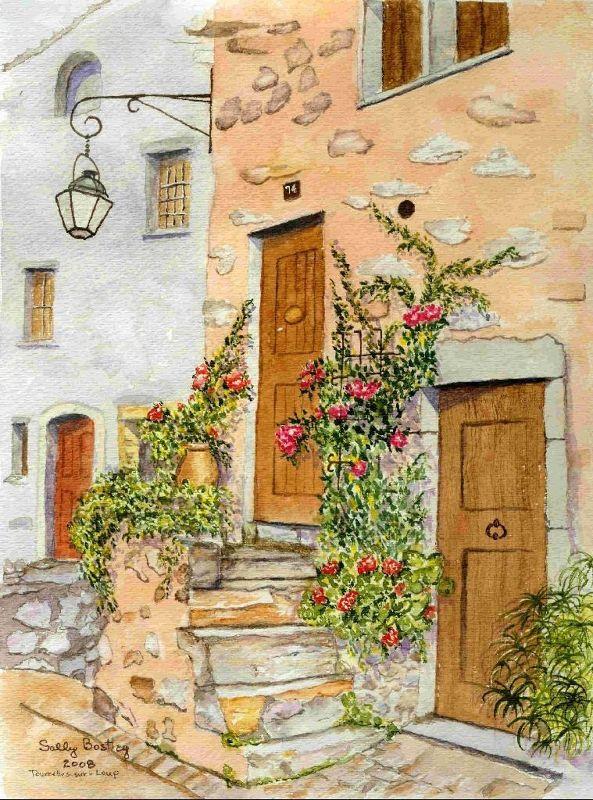 My watercolor of Tourrettes-sur-Loup - Tourette-sur-Loup