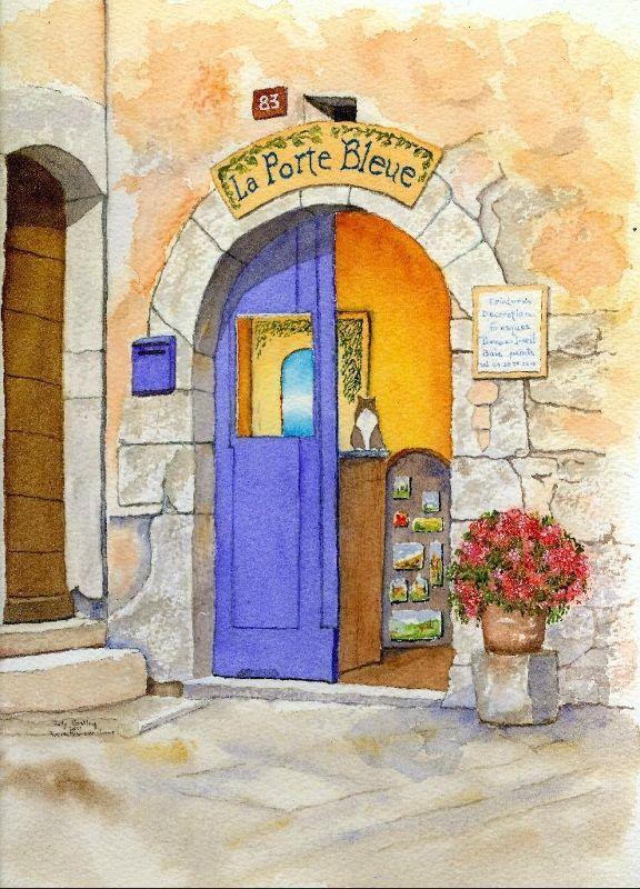 My watercolor painting of The Blue Door, a souvenir shop in Tourrettes-sur-Loup