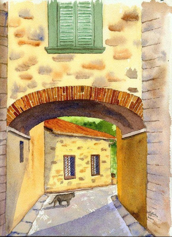 Panzano Kitty, my watercolor painting - Panzano, Italy