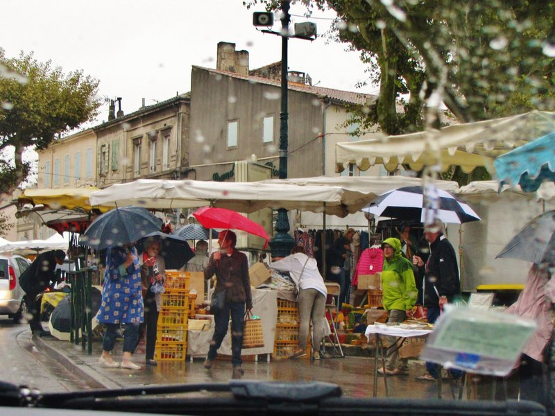Saint-Remy market on a rainy day