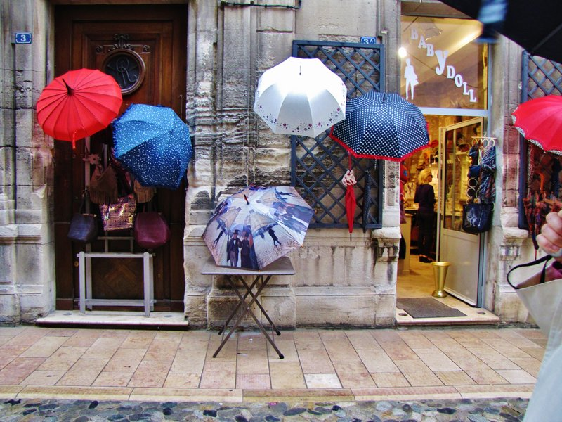 Shop display with my umbrella lower center . . .