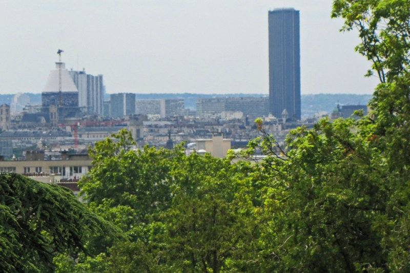 Montparnasse Tower and a swathed Pantheon from Père Lachaise Cemetery