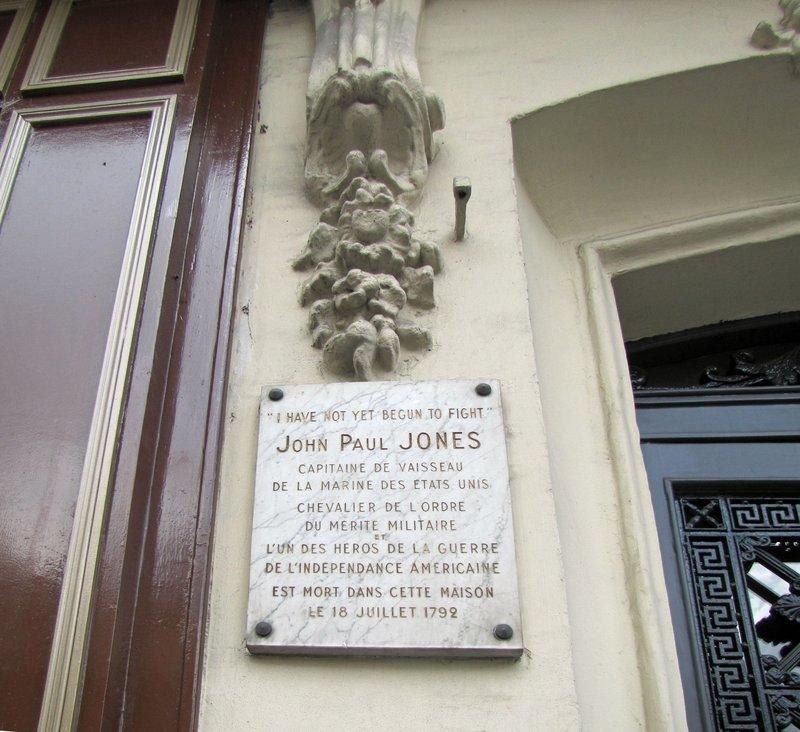 Paris house where John Paul Jones, American Naval Hero, died in 1792