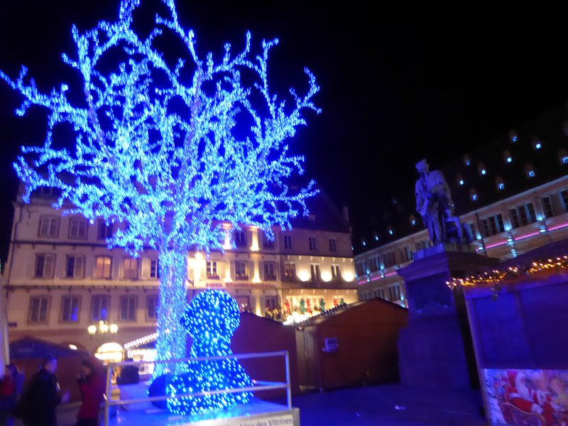 The Luxembourg Blue Tree at night, lighted . . . pretty