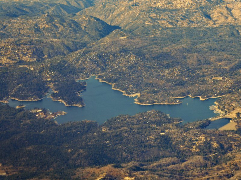 Big Bear Lake, California from the plane