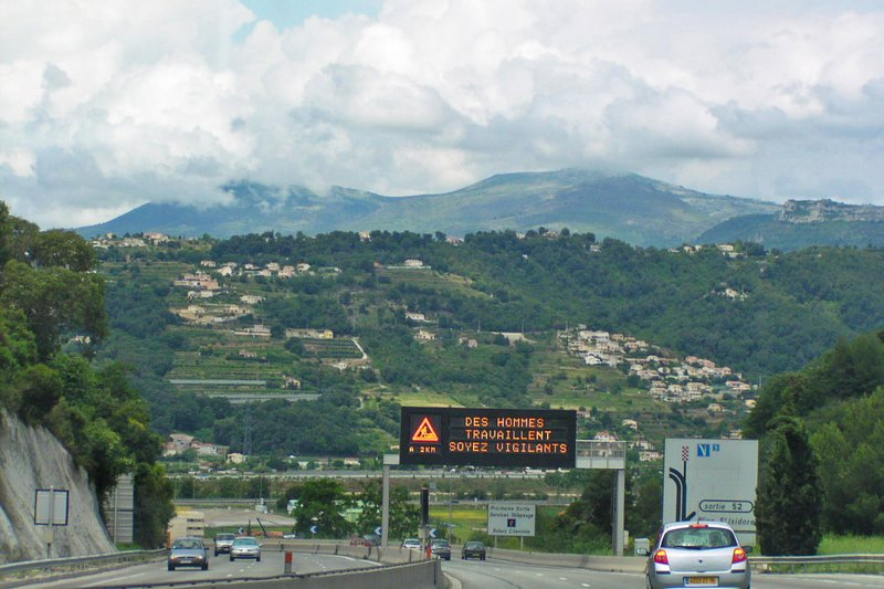 Warning Sign on the AutoRoute between Menton and Nice, France