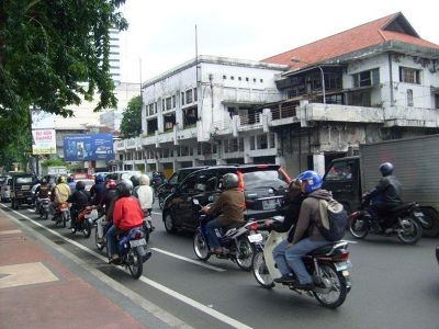 A much more typical street scene - Surabaya