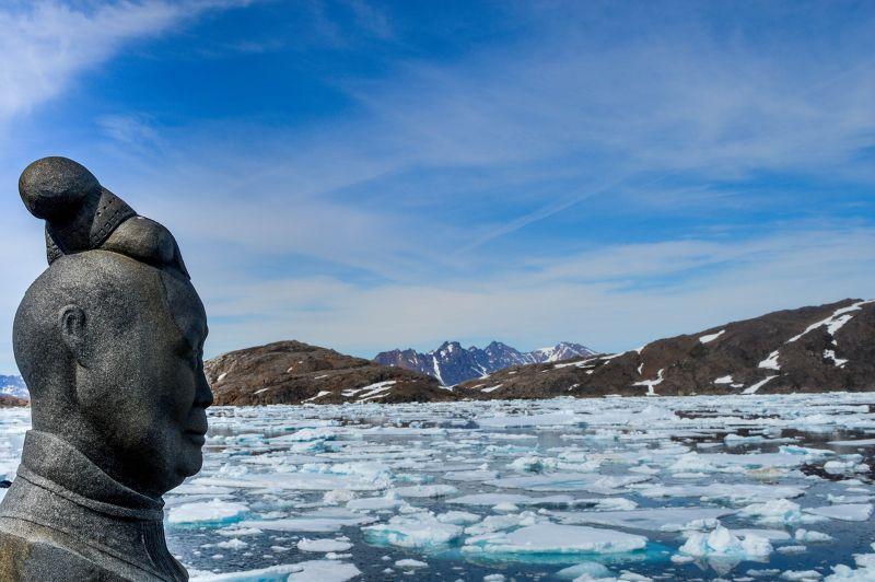 Drummer statue, Kulusuk, Greenland