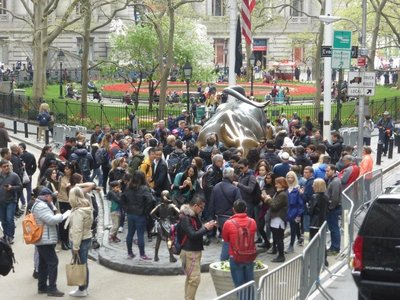 The bull and the fearless girl. And many tourists.