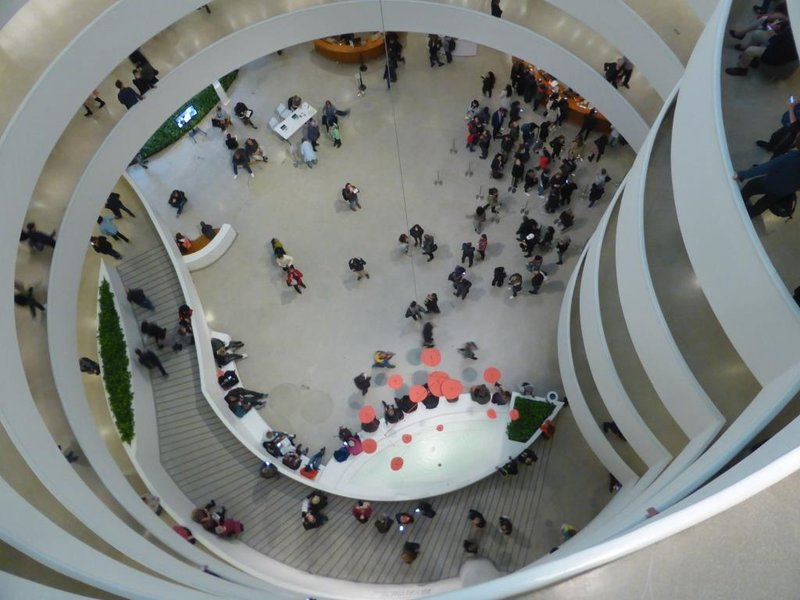 the reception area seen from the top