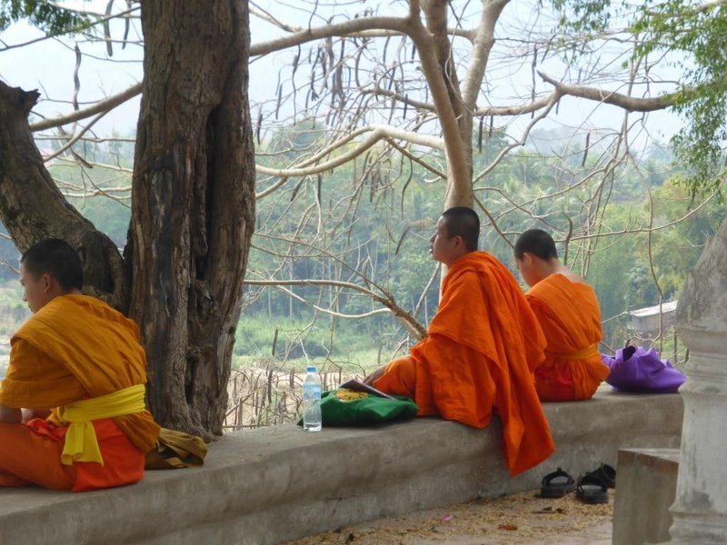 young monks using smartphones