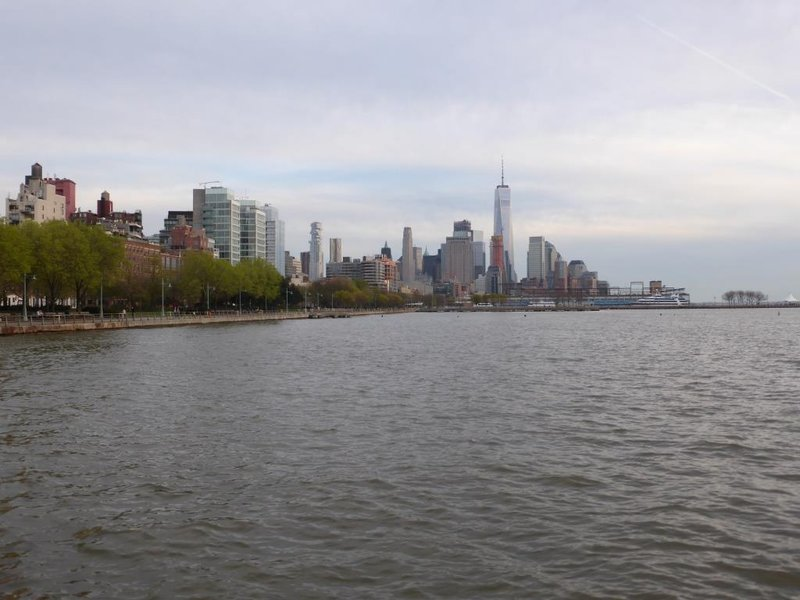 view over the financial district from the Hudson