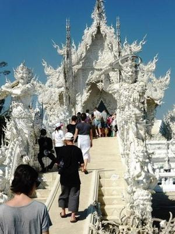 entering the temple