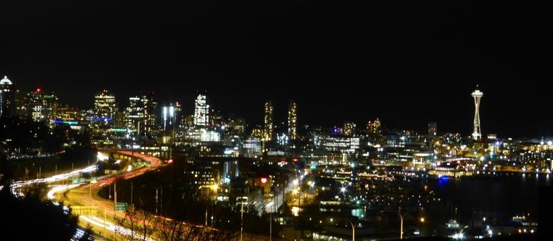 Seattle by night, panoramic view