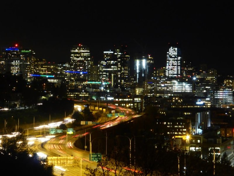 Seattle by night, with the interstate 5 (I5) flowing through it