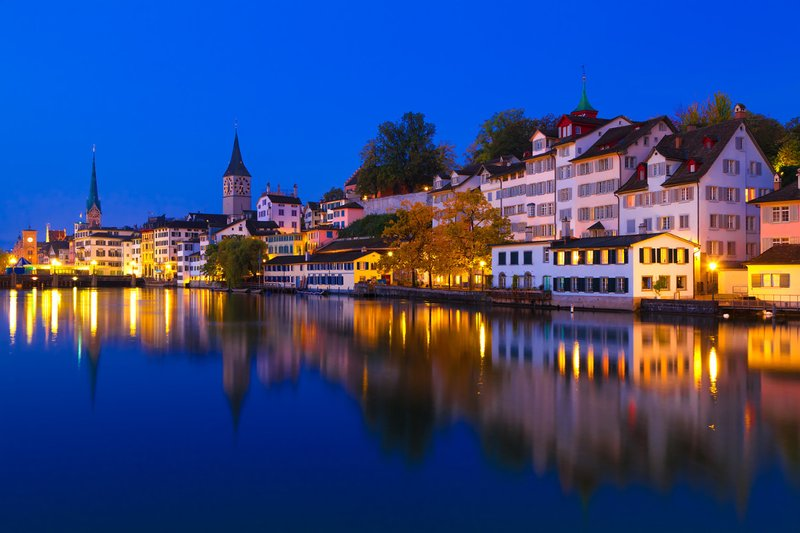 Zürich at the Blue Hour, Switzerland