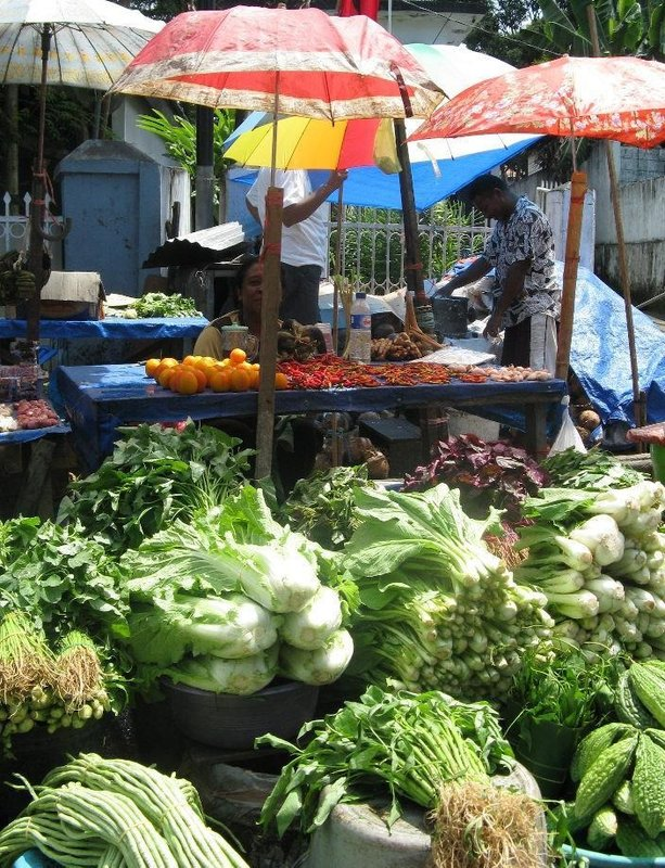 Ambon fresh vegetables at market