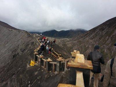 Walking on top of mount Bromo